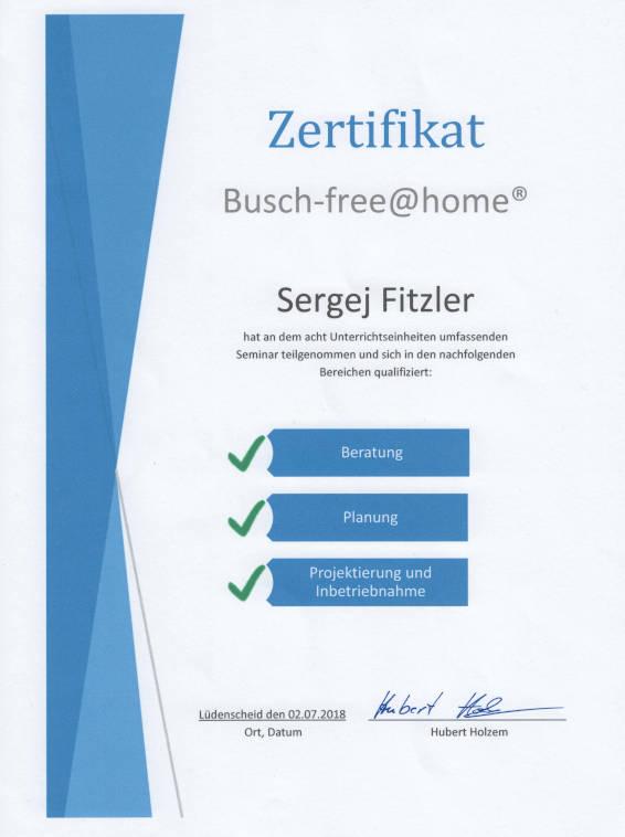 Busch-free@home Zertifikat